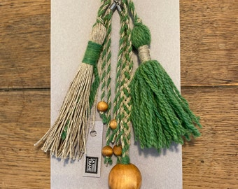 Pompom key rings, handcrafted handcrafted in wool and linen
