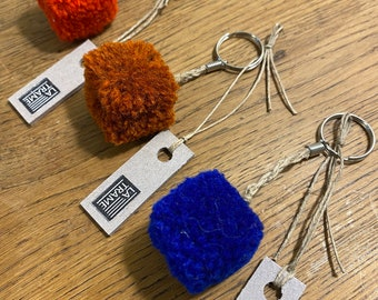 Plain square pompon key rings, handcrafted handcrafted in wool and linen