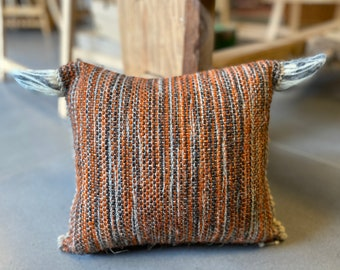 Wool cow cushion cover 30x36cm, hand-woven on a linen chain, with felted wool horns