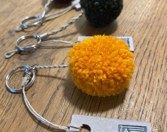 Plain round pompon key rings, handcrafted handcrafted in wool and linen