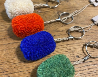 Single rectangle pompon key rings, handcrafted handcrafted in wool and linen