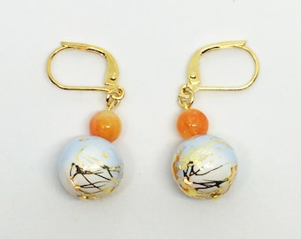 utopia Japanese wa earrings: babyblue and orange 12mm