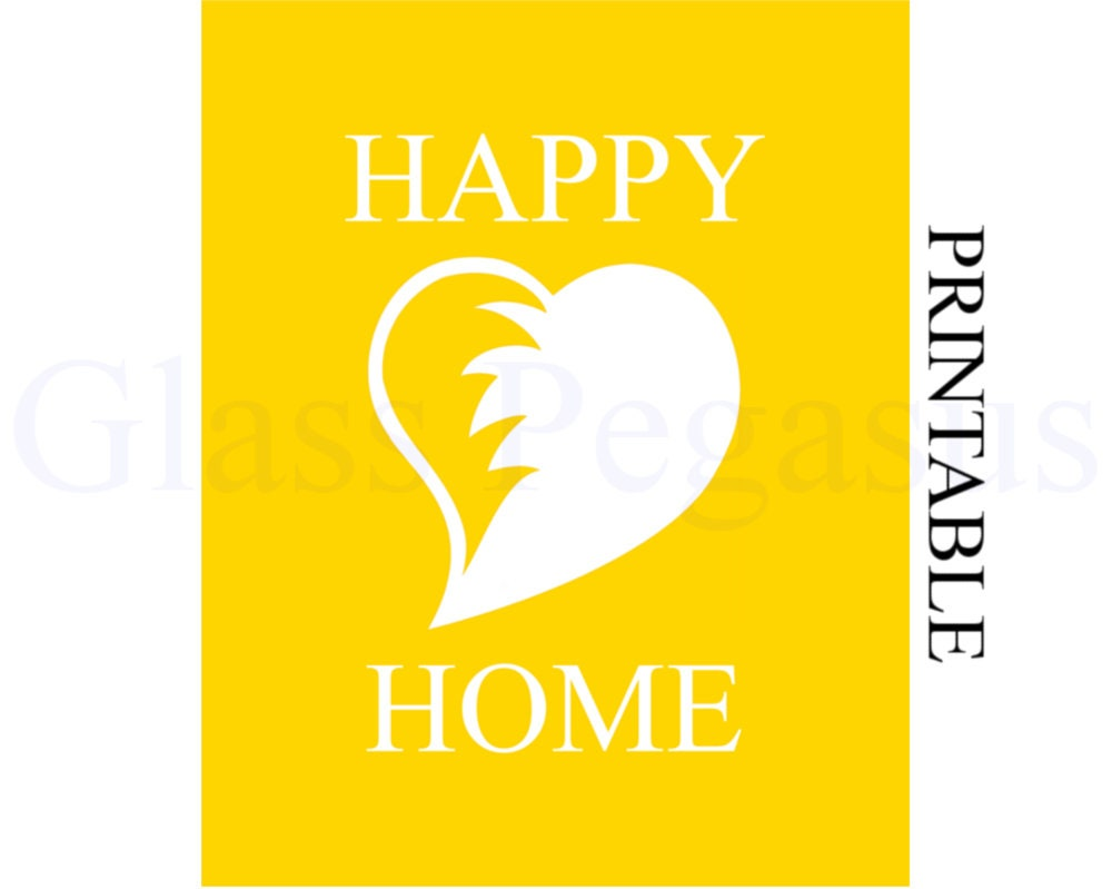 Happy Home Minimalist Wall Print with Abstract Heart   Etsy