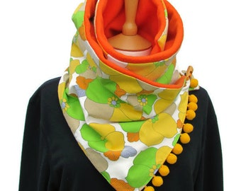 Orange flower scarf, mens scarves, winter scarves, delicate scarf, trendy scarves, womens scarf, choker scarves, fleece scarf, vintage scarf