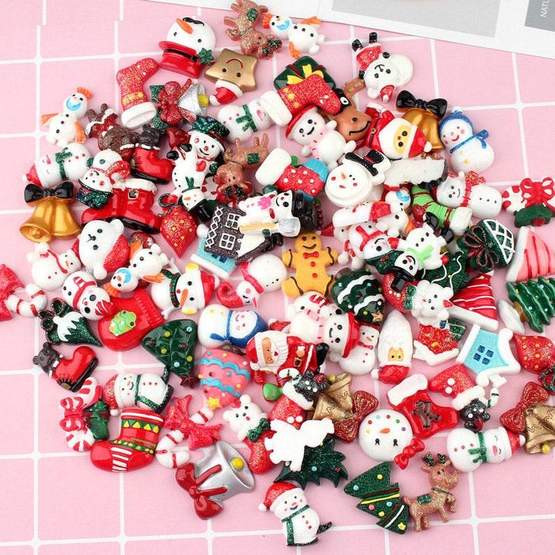 30 Christmas Resin Cabochons Random Mix Grab Bag