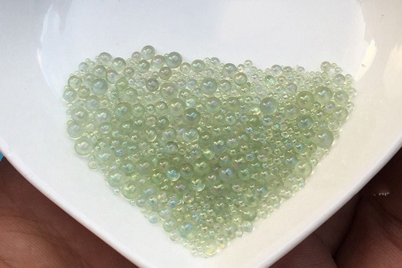No Hole HD001-13 Aqua Green Bubble beads Mixed Size 0.4-3mm tiny beads epoxy resin nail art decals clear beads fillers