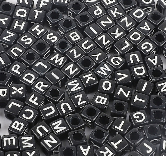 Black Number Symbol Cube Bead Resin Acrylic Perforated Beads DIY Bracelet Accessories HD007-16