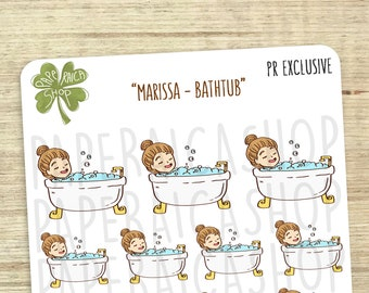 Cute Bath Time Planner Stickers, Bath Stickers, Shower Stickers, Character Planner Stickers, Me Time Stickers, Hygiene Stickers | PRS07