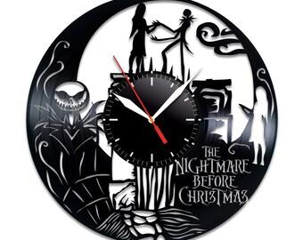 the nightmare before christmas vinyl clock vinyl record wall art handmade decor best original vintage gift for fans halloween decor