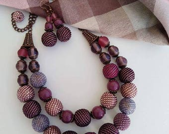 Necklace Earrings Beadwork  Purple Violet Beads Indian Glass Jewelry Set