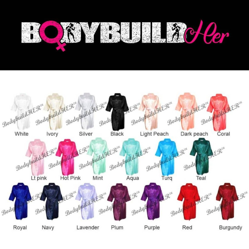 Women/'s BodybuildHER\u2122 Satin Competition Robe-Figure Competitor-Bikini Competitor-Physique Competitor-NPC Competitor-IFBB