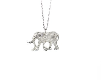 Minimalist Silver Swarovski Necklace, Elephant Necklace, Dainty Swarovski Necklace, Minimalist Necklace, Animal Necklace, Gift For Her