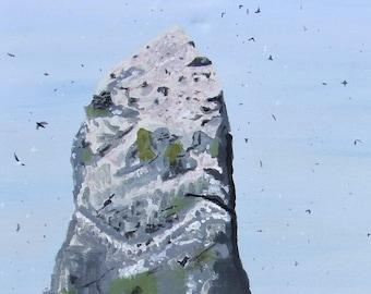 Sea Rock with birds on canvas with acrylic