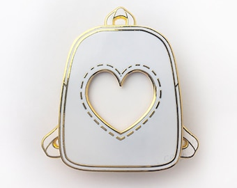 456de94357 Awesome Cute Ita Bag Photo Frame White School Bookbag Japanese Anime  Convention Gold Hard Enamel Pin