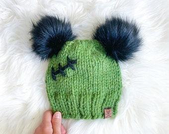Green Frankenstein Beanie, Halloween Hat, Zombie Beanie, Gift for Goth, Halloween Costume, Monster Hat, Gift for Halloween, Goth Baby