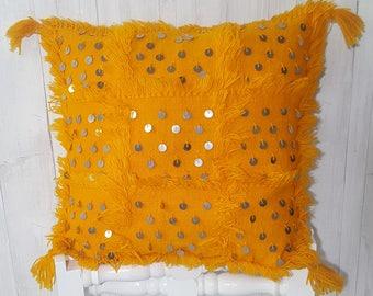 25 % de rabais ** mariage marocain de coussin housse de coussin de mariage marocain, jaune oreiller, coussin décoratif, marocaine Handira coussin 45 x 45 cm