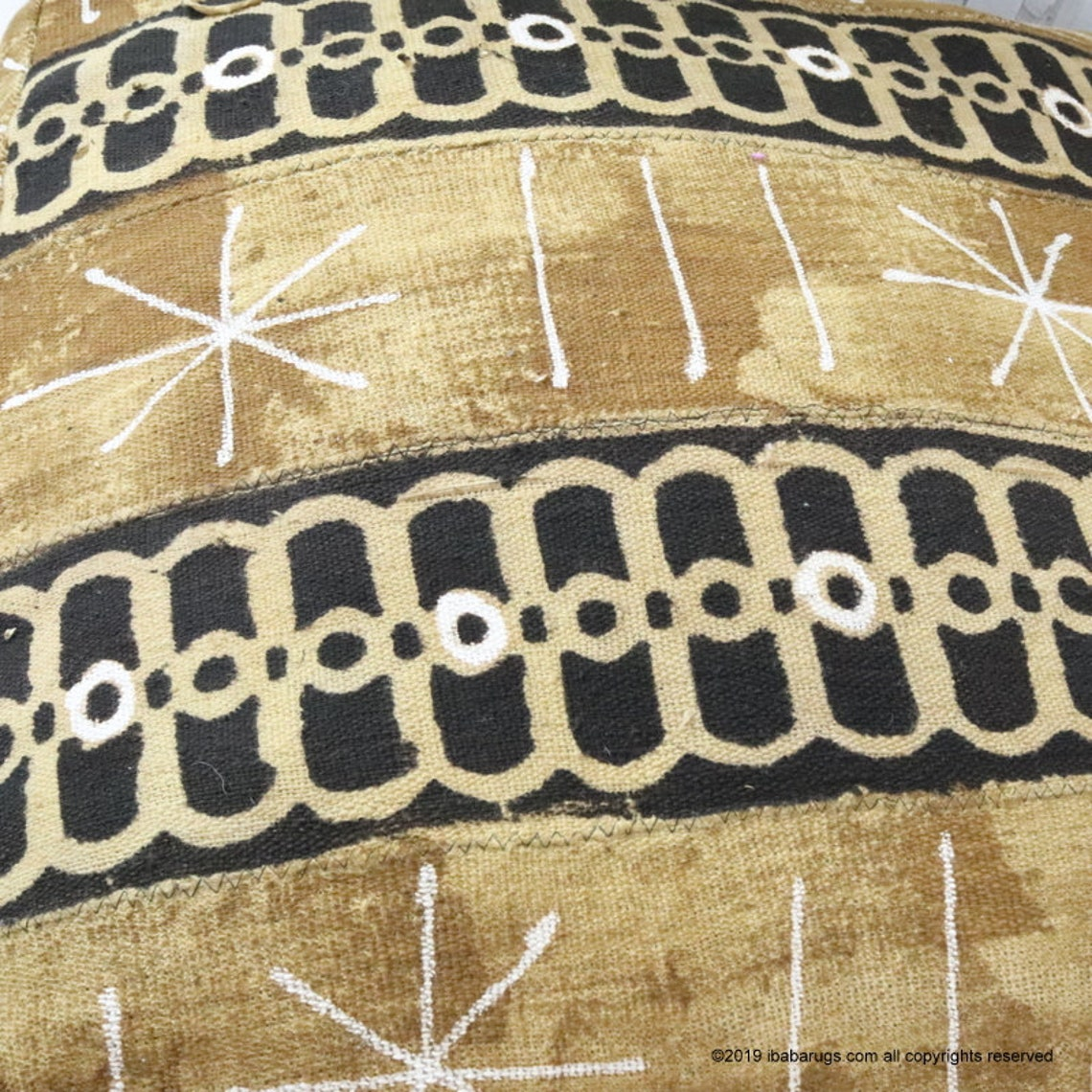 "20%off Mudcloth Pouf Cover, Mudcloth floor pillow, African Mud Cloth, African Pouf,  size 24"" x 24""x8"""