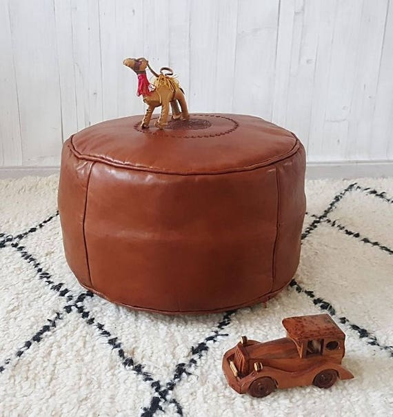 Brown Leather Moroccan Pouf Ottoman 25off Handmade Etsy