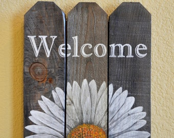 Cute little welcome painted wood sign