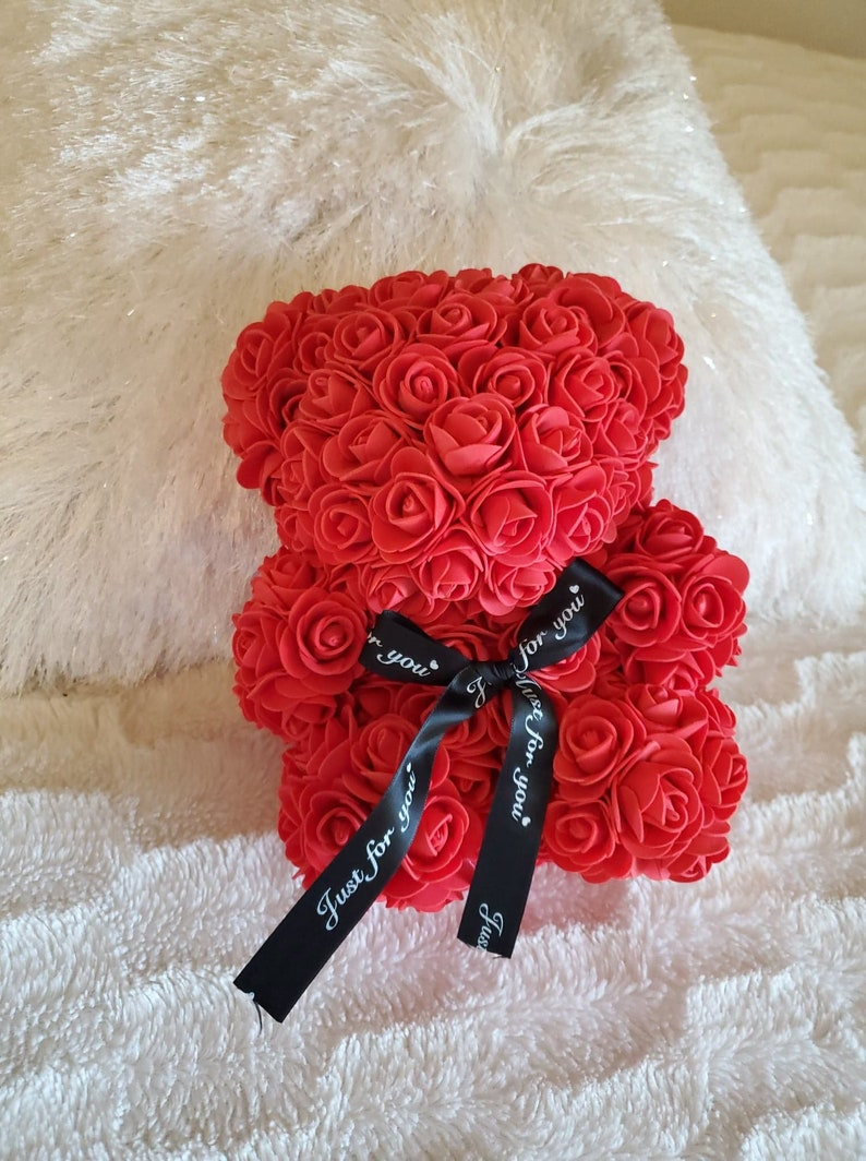 Anniversary gift for her  Baby Shower Centerpiece Mother/'s Day Gift Gift for girlfriend Flower Bear Red Rose Teddy Bear
