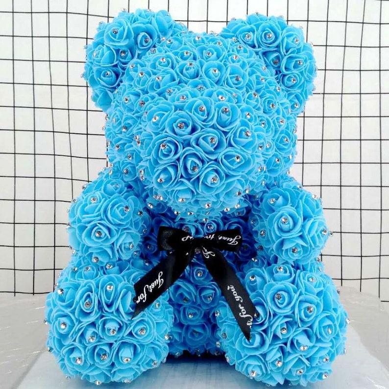 Rose Bear Teddy Bear Rose Teddy Bear Teddy Bear Rose with Diamonds Luxurious Blue Rose Teddy Bear Flower Teddy Bear