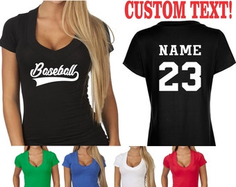 ac2e437c CUSTOM BASEBALL TEE V Neck T Shirt Ladies Womens Sexy Hot Cleavage Low Cut  Personalized Words City Sports Team Last Name Number Party Gift