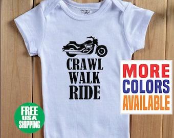 2e6c675d192 CRAWL WALK RIDE Baby Onesie ® One Piece Shirt Tee Bodysuit Harley Davidson  Cruiser Biker Boy Girl Kid Dad Mom Chopper Future Shower Gift