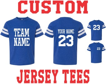 4de869ee YOUTH CUSTOM JERSEY T Shirt Tee Kids Toddler Child Name Number Birthday  Gift Personalized Team Color Baseball Soccer Footbal Hockey Racing