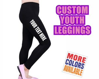 941c7e13ecc721 CUSTOM YOUTH LEGGINGS Black Pants Yoga Gym Dance Side Leg Thigh Your Text  Here Personalized Customized Printed Kids Girl Gift School Name
