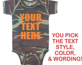 Camouflage Body Suit Camouflage Camo personalized body suit Monogrammed bodysuit Free Shipping Tristar Baby Camouflage