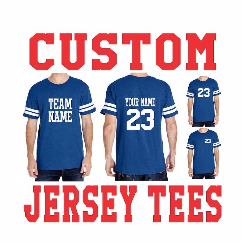 11abb9f2c MEN S CUSTOM JERSEY T Shirt Tee Blue Dad Family Last Name