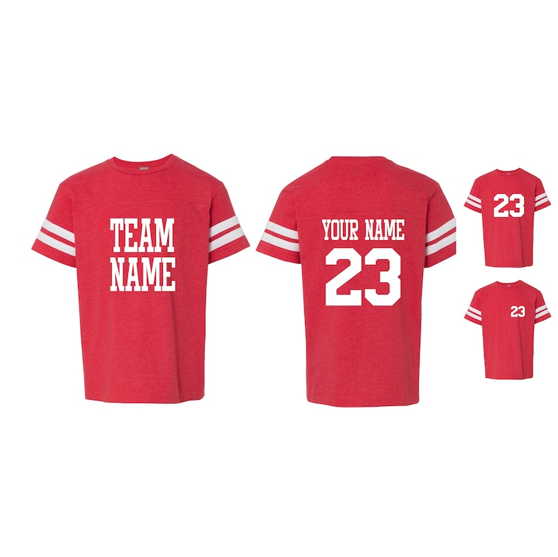 5c180436d3f1c YOUTH CUSTOM JERSEY T Shirt Kids Toddler Child Name Number Birthday Gift  Personalized Team Color Red Baseball Soccer Footbal Hockey Lacrosse