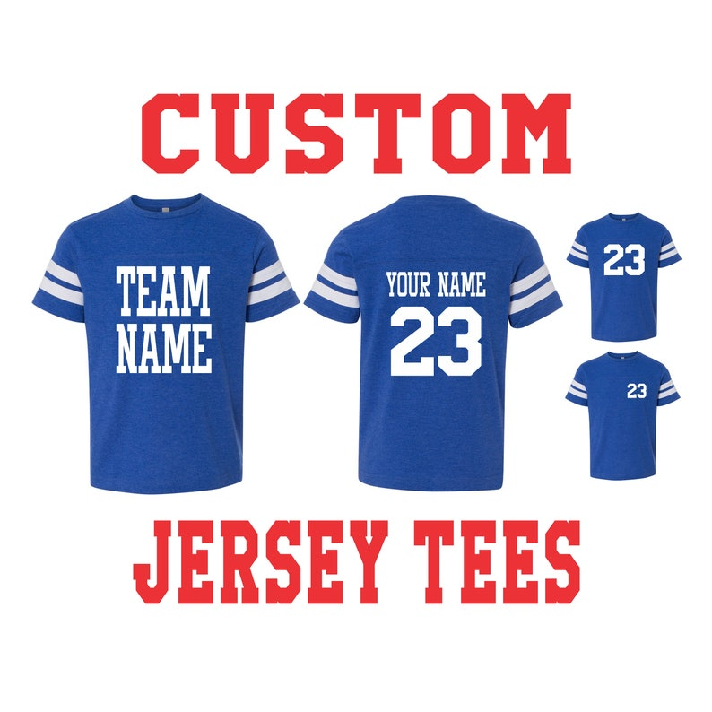 dd15f193f4dcd YOUTH CUSTOM JERSEY T Shirt Tee Kids Toddler Child Name Number Birthday  Gift Personalized Team Color Baseball Soccer Footbal Hockey Racing