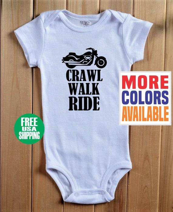 8afb41f5c70 CRAWL WALK RIDE Onesie Baby White Shirt Harley Davidson