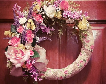 Spring Rose and Lavender Wreath