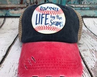 Baseball hat   living life by the seams baseball hat   Truckers hat   Red  and blue hat   hat 43c620e3ccfc