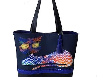 Cat print tote bag painted