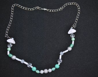 Handmade, white and teal beads with chain necklace