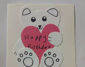 Happy Birthday Bear Holding Heart Card With Envelope