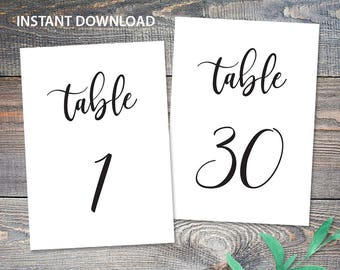 Table Numbers Printable 1-30 Wedding Cards 5x7 Instant Download Digital PDF Party Calligraphy Decor DIY Template