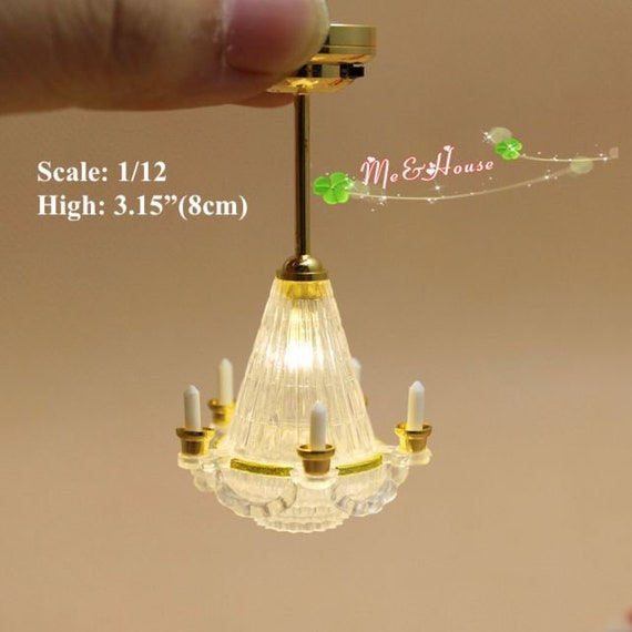 1:12 Scale Miniature Working LED Ceiling Light Lamp with Battery Dollhouse Decor