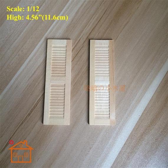 1 Pair 1//12 Dollhouse Furniture Wooden Shutters DIY Window Accessories