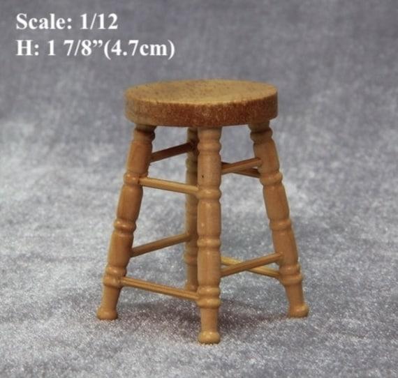 Astonishing 1 12 Scale Dollhouse Miniature Oak Wood Bar Stool Doll House Wood Furniture Lot 2 Stools Bralicious Painted Fabric Chair Ideas Braliciousco