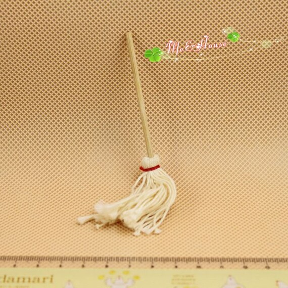 2PCs Dollhouse Miniature 1:12 Scale Fairy Garden Furniture Mop with Bucket Set
