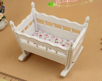 """1/12 Scale Dollhouse Miniature BB Baby Crib White Doll House Baby Room; H 2 3/4"""""""
