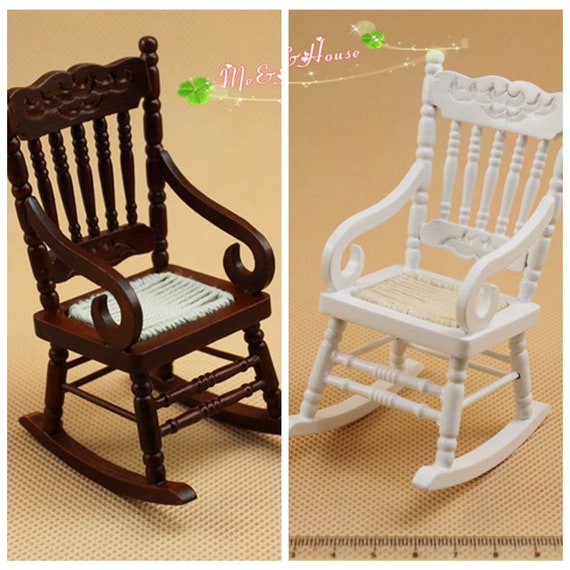 Wondrous 1 12 Scale Dollhouse Furniture Miniature Rocking Chair Wood Rolling Chair Arm Chair H9 3Cm Evergreenethics Interior Chair Design Evergreenethicsorg