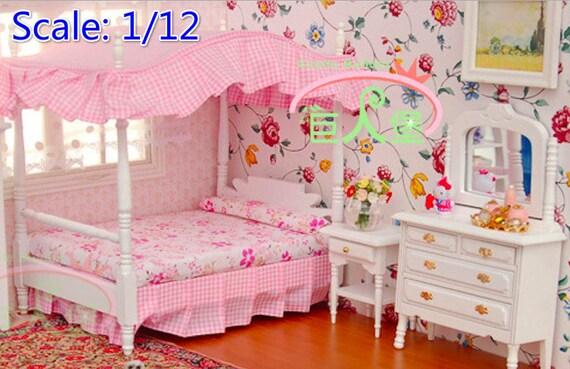 1/12 dollhouse miniature Pink Princess bedroom bed, night stand, dresser  mirror;Set 3