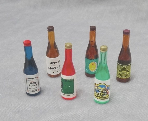 6 Bottle Wine for 1:12 Scale Dollhouse Miniatures Dining Drink Pip s!