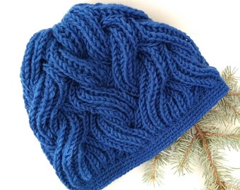 c044c8eacd5 Knitted women s hat Cap with collar Winter warm crochet cap Wool dark blue  hat Christmas present for girlfriend Knitted hat with soft lining