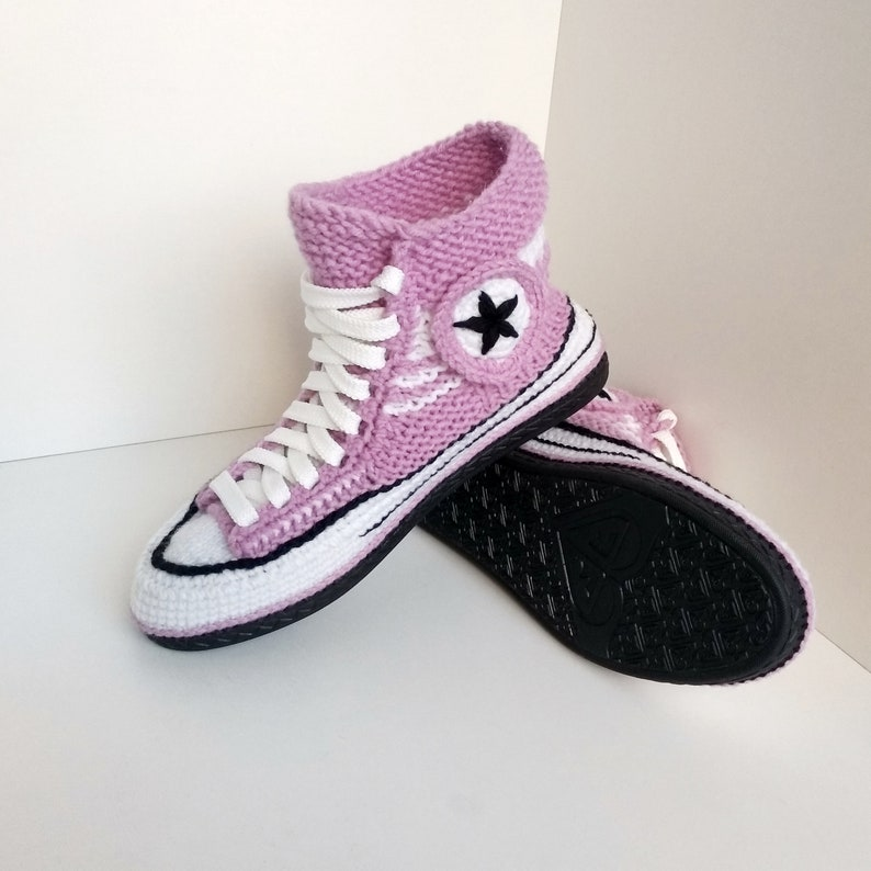 Knitted converse shoe polyurethane Adult crochet converse Women's house slipper Crochet converse slippers Wool knitted slippers House shoes
